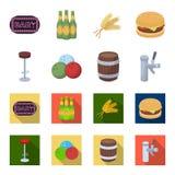Ristorante, caffè, sedia, palla da bowling Icone stabilite della raccolta del pub nel fumetto, illustrazione piana delle azione d Immagini Stock