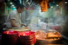 Ristorante cinese a Hong Kong alla notte Fotografia Stock