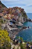 Ristorante con una grande vista in Manarolla, Cinque Terre, Italia Immagine Stock Libera da Diritti