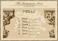 Ristorante del menu dell'annata orizzontale Fotografie Stock Libere da Diritti