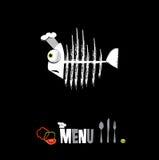 Ristorante del menu nel nero Immagine Stock