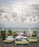 Ristorante della spiaggia dopo la stagione Fotografia Stock Libera da Diritti