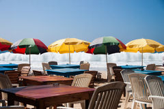 Ristorante della Sri Lanka sul mirissa della spiaggia immagini stock libere da diritti