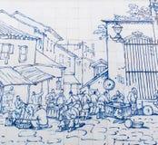 Ristorante della via fuori della S Domingos era ha attinto la parete ceramica da George Chinnery nel 1840 Fotografia Stock Libera da Diritti