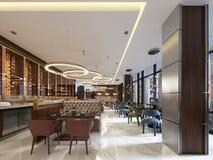 Ristorante di lusso nello stile contemporaneo con mobilia squisita ed il progettista moderni listroy con illuminazione nascosta I illustrazione vettoriale