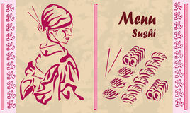 Menu. sushi. Fotografia Stock Libera da Diritti