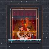 Ristorante Giorno del `s del biglietto di S Tipo e la ragazza una riunione romantica ai ristoranti messicani di tema Immagini Stock