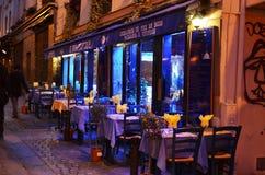 Ristorante a Parigi entro la notte Fotografia Stock Libera da Diritti