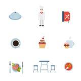 Ristorante piano di vettore che cucina l'icona di app di web: bistecca del cuoco unico del cuoco Immagine Stock