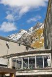 Ristorante sulla piattaforma di bservation del ghiacciaio di Grossglockner Pasterze in Austria Immagine Stock