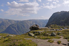 Ristorante sulla scogliera a Lysefjord, Norvegia Fotografie Stock