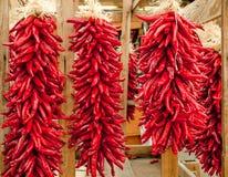 Ristras rojos de Chile Fotos de archivo
