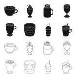 Ristretto, chocolate quente, latte afastado Tipos diferentes de ícones da coleção do grupo de café no preto, vetor do estilo do e ilustração stock