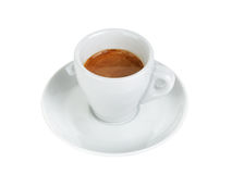 Ristretto espresso in cup with saucer. Isolated on white Royalty Free Stock Photos