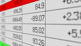 Risultati di vendite che cambiano in foglio elettronico, rapporto di stima, matrice di informazioni illustrazione di stock