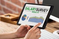 Risultato di stipendio di Doing Survey On della persona di affari Immagine Stock Libera da Diritti