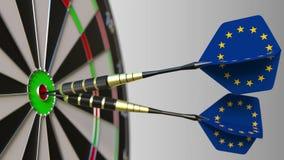 Risultato di UE Bandiere dell'Unione Europea sui dardi che colpiscono centro Rappresentazione concettuale 3d Fotografia Stock