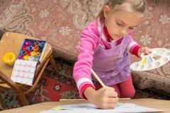 一个画架的顶视图risuyuschuyu五年女孩在艺术家的演播室 免版税库存照片