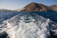 Risveglio della barca Immagine Stock