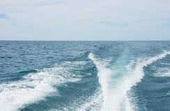 Risveglio della barca sul lago Michigan Fotografia Stock