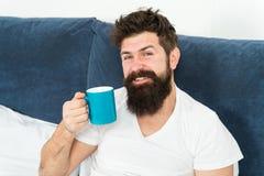 Risveglio di mattina migliore con il caffè della tazza Rilassi e riposi i funzionamenti di umanità su caffè Rilassamento bello br immagini stock libere da diritti