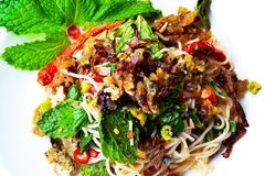 Risvermiceller, Fried Mackerel Spicy Salad 180208 0104 Royaltyfri Foto