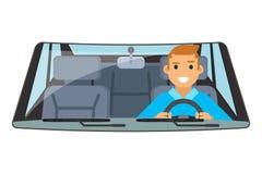 Rit die van het de autowiel van de voertuig de binnenlandse bestuurder geïsoleerde vlakke ontwerp vectorillustratie drijven royalty-vrije illustratie