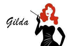 Rita Hayworth-portret, Gilda-diva zangersilhouet vector illustratie