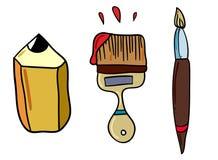 Rita och borsta för konst och att dra och skapa nya mästerverk stock illustrationer