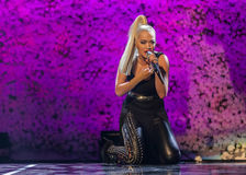 Rita Ora. Live at the MOBO award ceremony, Leeds First Direct Arena Royalty Free Stock Photos