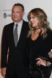Rita Wilson and Tom Hanks. NEW YORK, NY - APRIL 26: Rita Wilson and Tom Hanks attend `The Circle` premiere during the 2017 Tribeca Film Festival at BMCC Tribeca Stock Photos