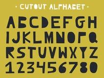 Ritaglio ABC - alfabeto latino Lettere fatte a mano uniche nello stile scandinavo illustrazione vettoriale