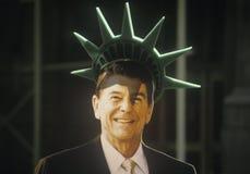 Ritaglio del cartone di presidente Ronald Reagan Immagini Stock