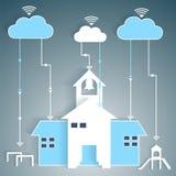 Ritaglio di carta di calcolo della nuvola della rete della scuola Immagini Stock Libere da Diritti