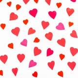 Ritaglio rosa e rosso dei cuori dalla carta di colore Fotografie Stock