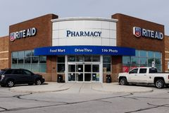 Rite Aid Drug Store and Pharmacy. In 2018, Rite Aid transferred 625 stores to WBA, the owner of Walgreens I stock images