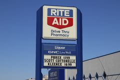 Union City - Circa April 2018: Rite Aid Drug Store and Pharmacy. In 2018, Rite Aid transferred 625 stores to WBA I stock photo