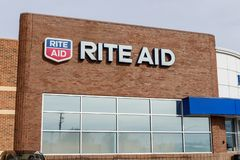 Rite Aid Drug Store and Pharmacy. In 2018, Rite Aid transferred 625 stores to WBA, the owner of Walgreens II stock photo