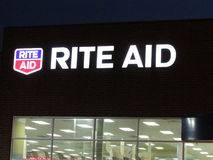 Rite aid lighted sign in Edison on Rt 1 at late evening, NJ USA. Stock Images