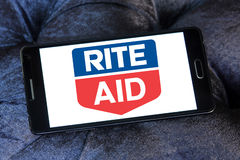 Rite Aid pharmacy logo. Logo of Rite Aid pharmacy on samsung mobile. Rite Aid Corporation is an American drugstore chain in the United States. Rite Aid is the Stock Photography