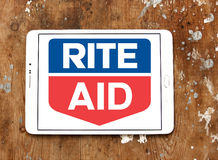Rite Aid pharmacy logo. Logo of Rite Aid pharmacy on samsung tablet. Rite Aid Corporation is an American drugstore chain in the United States. Rite Aid is the Stock Photos