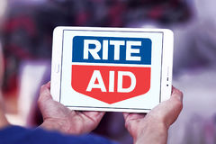 Rite Aid pharmacy logo. Logo of Rite Aid pharmacy on samsung tablet. Rite Aid Corporation is an American drugstore chain in the United States. Rite Aid is the Stock Images