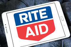 Rite Aid pharmacy logo. Logo of Rite Aid pharmacy on samsung tablet. Rite Aid Corporation is an American drugstore chain in the United States. Rite Aid is the Royalty Free Stock Image