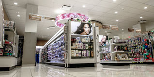 Rite Aid pharmacy. New York, February 26, 2017: Isles with merchandise in a beauty section of a Rite Aid pharmacy Royalty Free Stock Photos