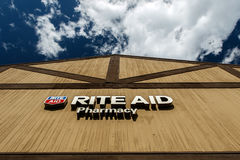 Rite Aid pharmacy. Park City, UT, May 12, 2017: Rite Aid pharmacy sign above the entrance to the drug store is lit by the sun Royalty Free Stock Image