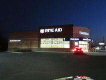 Rite aid store at night on Rt 1 in Edison, NJ USA. Stock Image