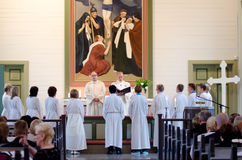 Rite of confirmation at Lutheran church Royalty Free Stock Image
