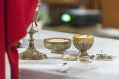 The rite of the Eucharist. The Holy Bread rite, during the Mass, in a catholic church Royalty Free Stock Images