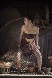 Rite. Thai traditional uniform dress,Thailand ancient traditional,The uniqueness of the dress of Thai traditional  style,woman wearing typical thai dress,Mystic Stock Photo