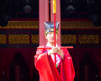Rites and music performance. Man wearing traditional costume to dance and performance inside Beijing Confucius Temple China stock photos